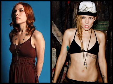 Holly Brook on the left, Skylar Grey on the right.