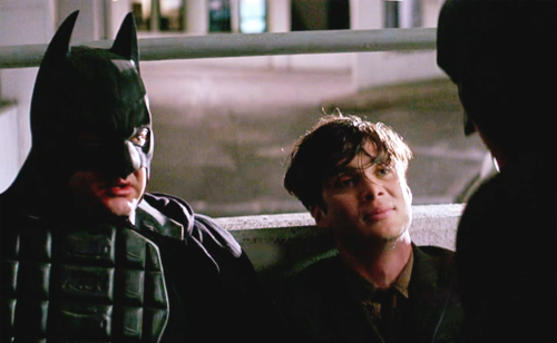 "If Batman's disapproval wasn't enough for you, there's also Cillian Murphy's look of ""I can't believe I have to put up with this"" to add insult to injury."